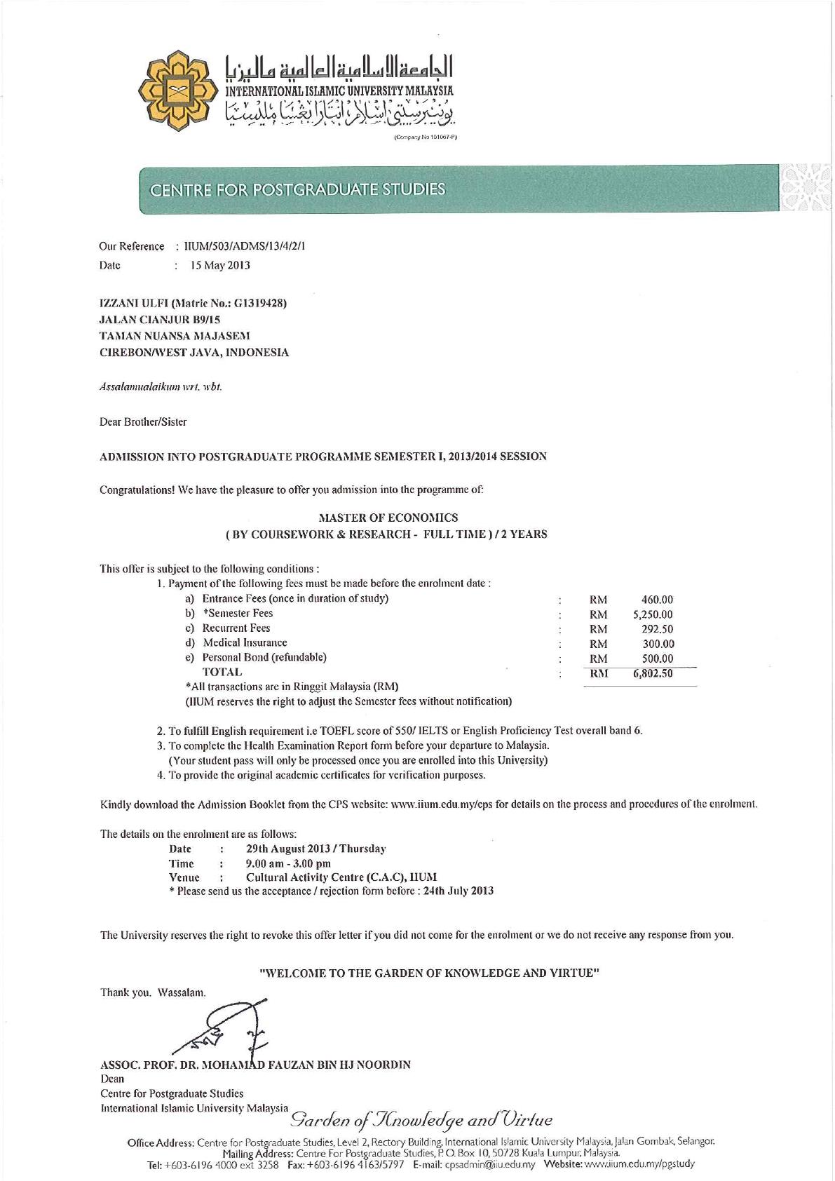 Offer Letter Changed G